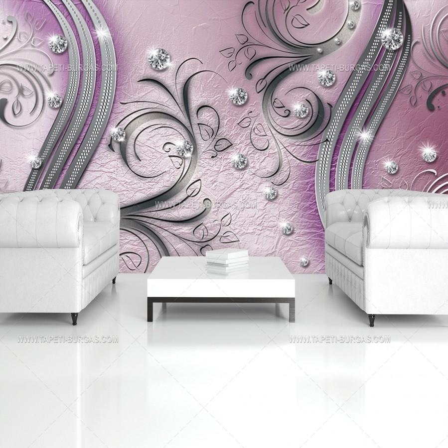 Фототапет 3D Сиво лилаво-розова абстракция с диаманти