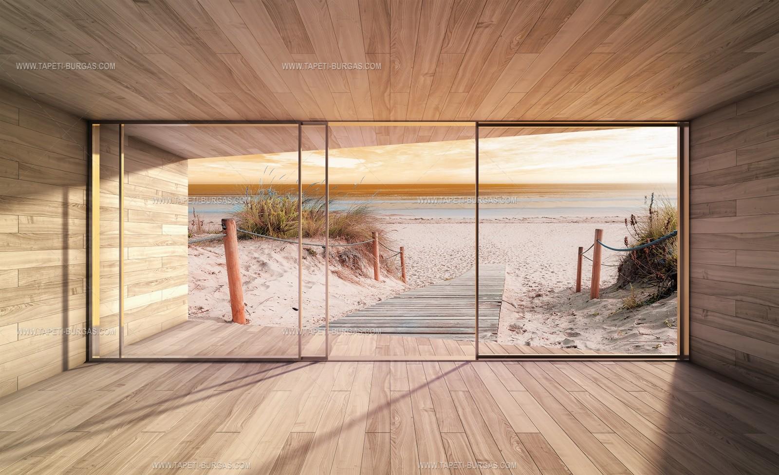 Фототапет 3D панорама, прозорец към Плажа залез