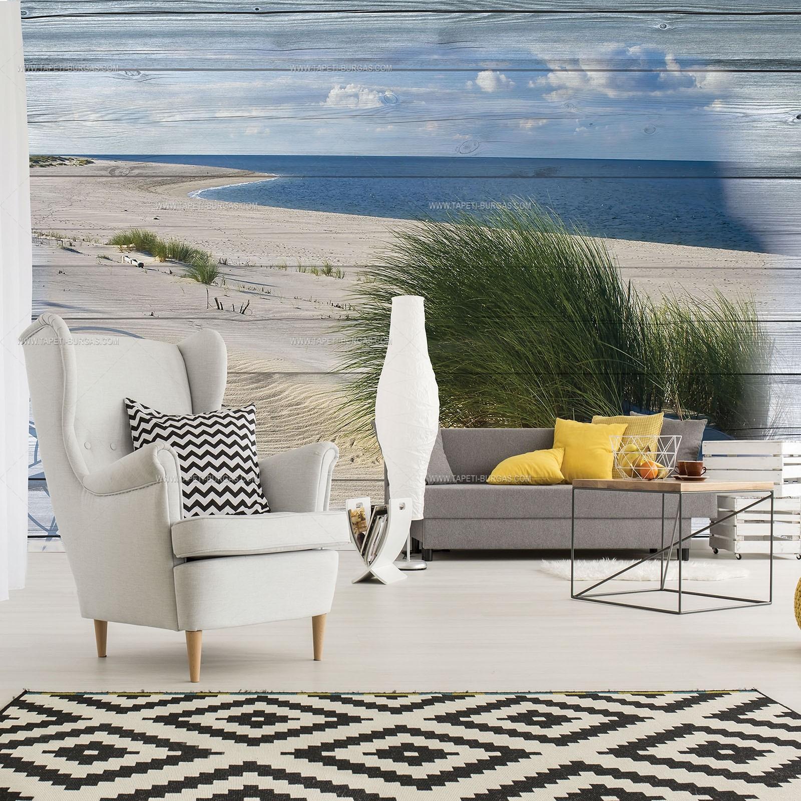 Фототапет Морски пейзаж -колаж върху дъски