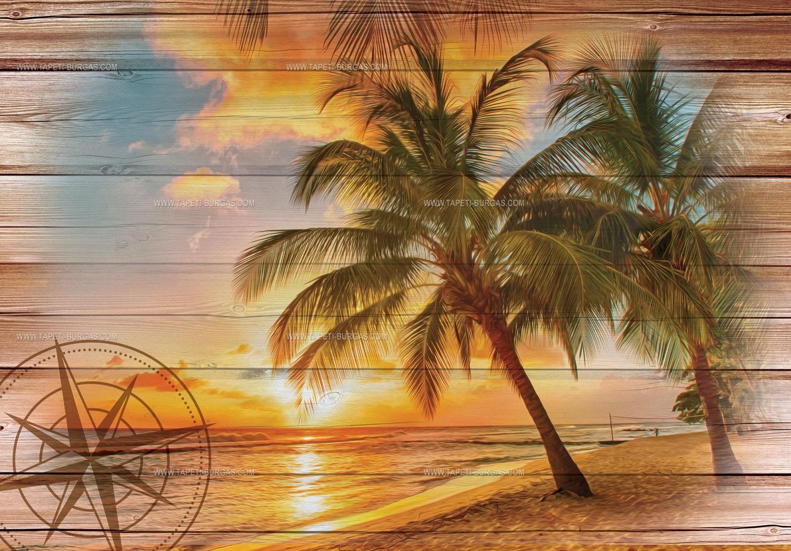 Фототапет Лятно настроение-колаж върху дъски