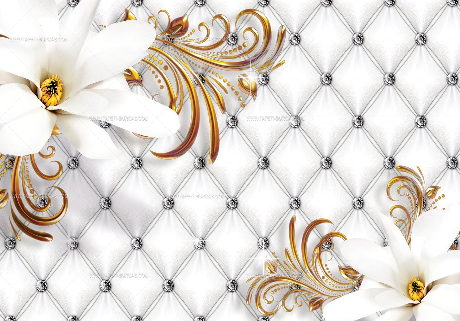 Фототапет  Изящество в бяло и златно